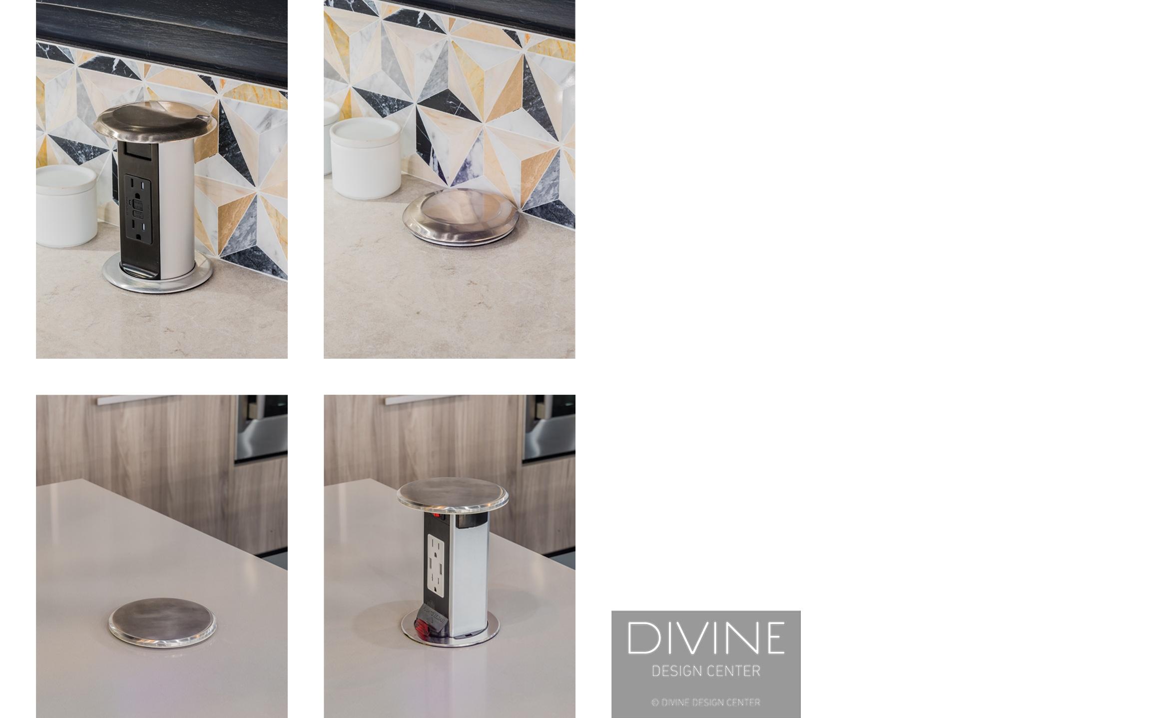 Lew Electric, Mockett, Boston, Massachusetts, kitchen, kitchen outlets, modern kitchen, discreet outlets, minimalist, tile back splash, pop-up, pop-out, pop up, pop out, quartzite, outlets in the countertop