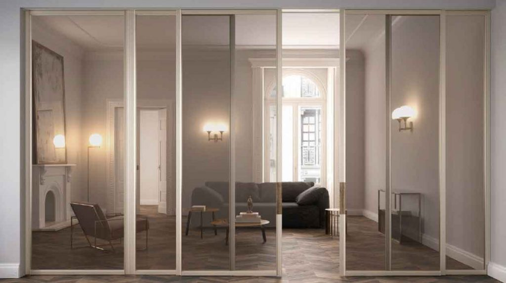 boston, modern showroom, modern dividing systems, high ceilings, white walls, modern sconces, albed doors, albed dividing systems, paolo festa