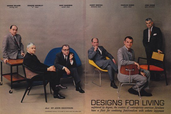 charles eames, knoll, boston, divine design center, eames chair, designs for living, mid century modern, modern, modern design, modern furniture, playboy magazine, retro, 1950's