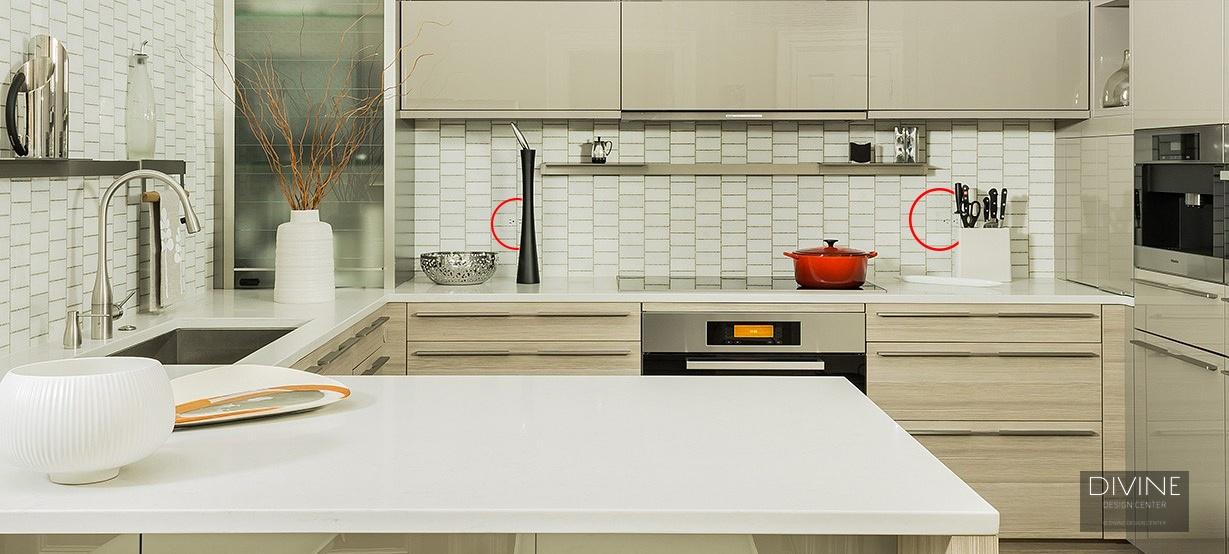modern kitchen, undermount sink, engineered quartz, brushed nickel, stainless steel appliances, handles and pulls, TRUFIG outlets, outlets, tile back-splash, Boston, Massachusetts