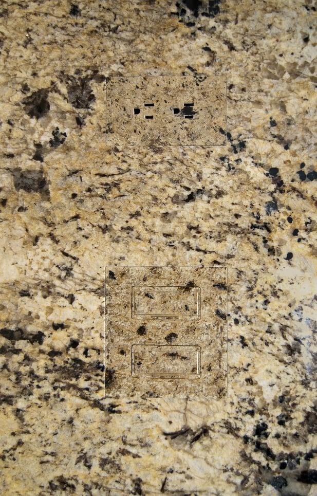 marble, TRUFIG outlets, outlets, flush outlets, Boston, Massachusetts, Divine Design Center, flush, back splash, modern kitchen, kitchen, kitchen accessories